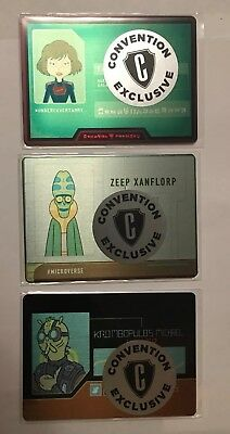 2018 Cryptozoic Convention Exclusive Rick & Morty Metal Card Set M1 M2 M3 /100