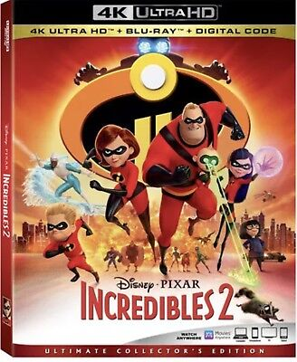 Disney Pixar Incredibles 2(4K Ultra Hd+Blu-Ray+Digital Hd)W/slipcover New