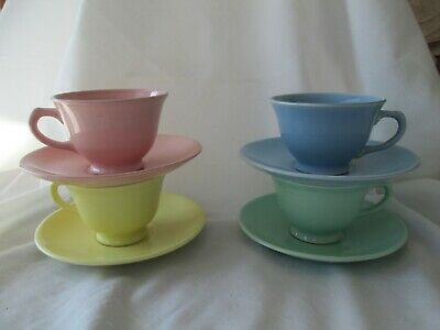 Lu-Ray Pastels Cup & Saucers Set of 4 Yellow, Pink, Green, Blue USA