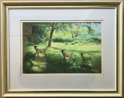 Kay James Sheep at BARCOMBE MILLS Sussex Original Painting 42x33cm Glazed Frame