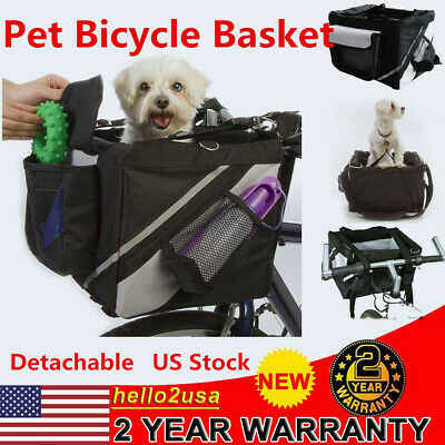 Portable Bicycle Front Basket for Pet Dog Ride Bike Carrier Bags Black US Stock