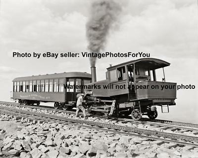 Old Antique Vintage Steam Engine Locomotive Railroad Car Conductor Photo Picture