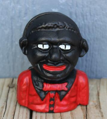 Cast Iron Young Black Americana Embossed On The Back  Money Coin Piggy Bank