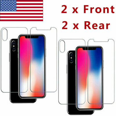 2 FRONT + 2 BACK Rear Tempered Glass Screen Protector For iPhone X XS XS MAX XR