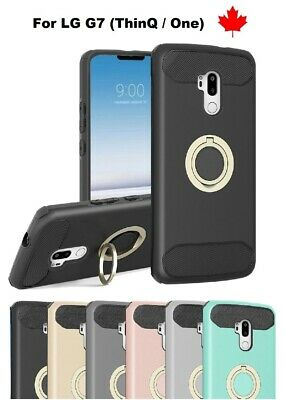 For LG G7 ThinQ / One - Magnetic Ring Stand Hybrid Rubber Shockproof Cover Case