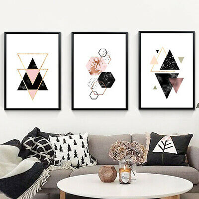 Nordic Geometric Canvas Wall Painting Picture Art Home Decor Gift Unframed CA