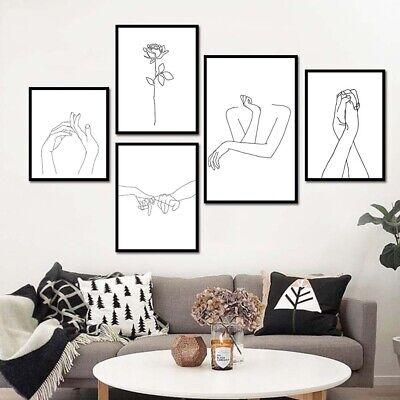 Abstract Flower Hands Canvas Wall Painting Picture Poster Art  Home Decor Filmy