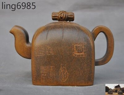 Chinese Yixing Zisha Pottery hand carved seal Stamp statue Teapot Flagon tea pot