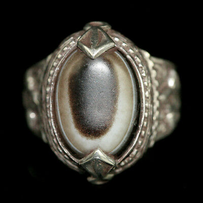 Persian silver and brass ring with agate eye bead bezel; y2750