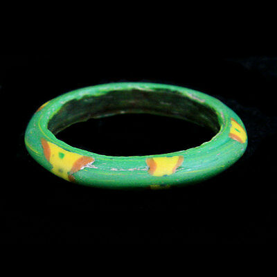 Islamic red, green and yellow glass bracelet. y969