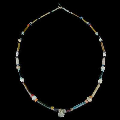 "A Holyland glass and tubular ""gold-glass"" bead necklace. x8664"