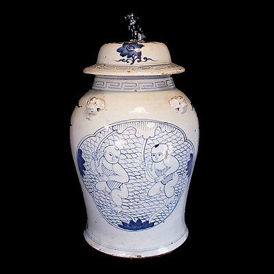 Large Qing blue and white glazed lidded vessel with young boys x6320