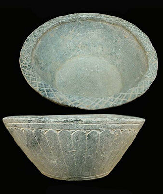 Gandharan grey schist bowl with elegant incised floral motif 3rd C A.D. x2618