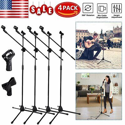 4PCS Microphone Boom Arm Stand Tripod Holder Mic Clip Adjustable Height Mount MX