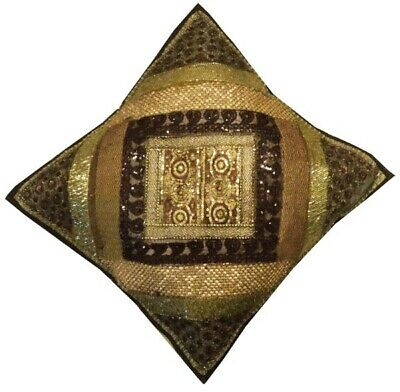 "24"" Brown Ethnic Art Sari Bead Sequin Throw Floor Accent Cushion Pillow Cover"