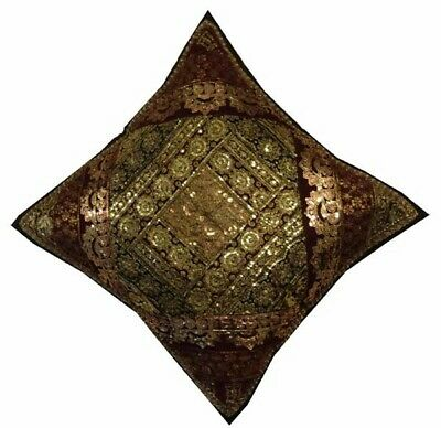 "24"" Brown Vintage Sari Stunning Handcrafted Kundan Throw Cushion Pillow Cover"