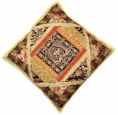"24"" Beige Rich Vintage Sari Bead Sequin Throw Floor Accent Cushion Pillow Cover"