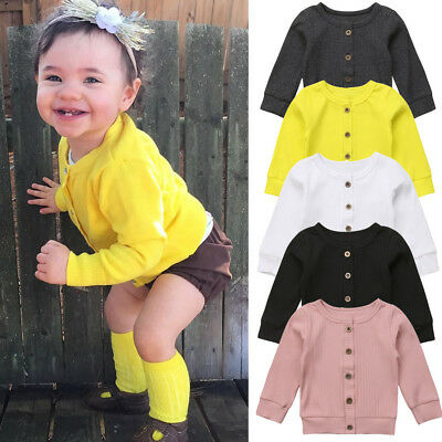 UK Seller Newborn Kids Baby Girl Knitted Sweater Cardigan Coat Casual Top SUI