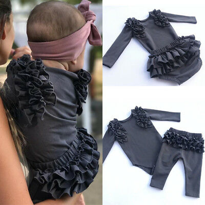 UK Toddler Baby Girl Ruffles Flower Bodysuit Long Pants/Shorts Outfits Clothes