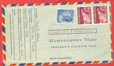 Luxembourg 3 stamp used on MONTGOMERY WARD Cover to USA
