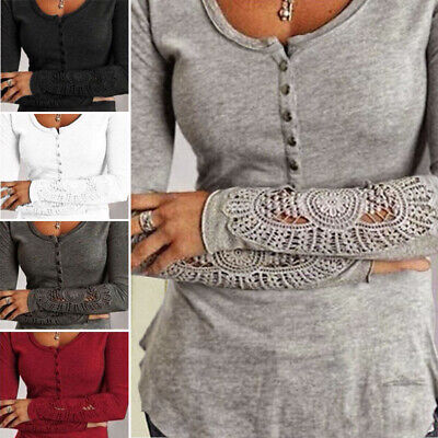 ZANZEA Women Casual Long Sleeve Crochet Lace Blouse Tee T-Shirt Jumper Shirt Top