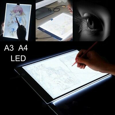 A3 A4 LED Ultra Slim Art Craft Drawing Copy Tracing Tattoo Pad Board Light Box