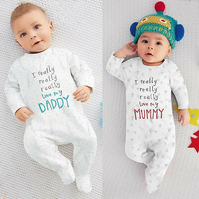 UK Newborn Infant Baby Boys Girls Long Sleeve Bodysuit Romper Jumpsuit Clothes
