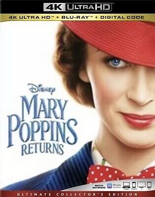 Mary Poppins Returns(4K Ultra Hd+Blu-Ray+Digital)W/slipcover New Factory Sealed