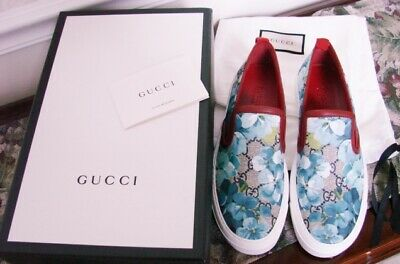 30c65131e691 New In Box Gucci Gg Blooms Slip On Sneakers Skate Shoes Blue Floral 36.5 Usa  6.5