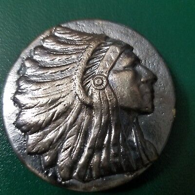 4.72 Troy oz. Hand Poured 99.9% silver Big INDIAN Head coin. Round