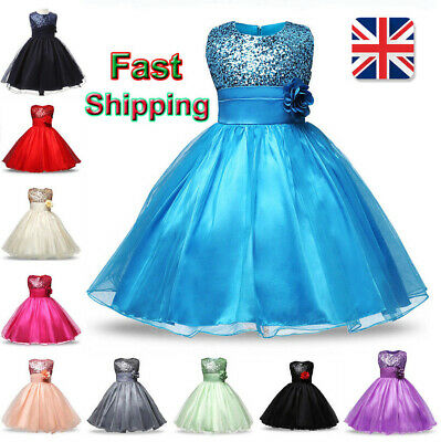 UK Flower Kids Girl Bridesmaid Wedding Prom Pageant Party Full Maxi Formal Dress