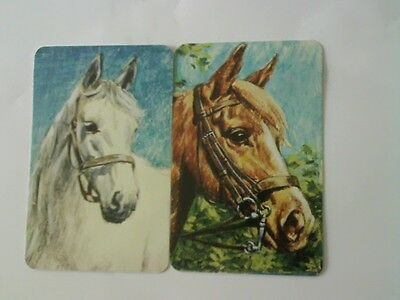 2 Swap/Playing Cards - Pair Horse Heads (Blank Backs)