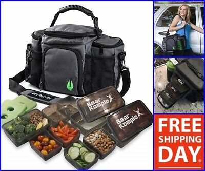 Large Insulated Meal Prep Lunch Bag Lunchbox Cooler Ice Pack Shoulder Bags Black