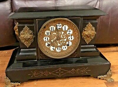 Ansonia Cast Iron Mantel Clock With Gargoyle Devil Heads Plus Key Pendulum L@@K