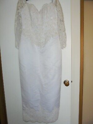 WEDDING DRESS WITH LACE & PEARLS - Size 14 ( Can POST )