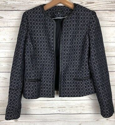 Will Smith 8 Thick Stitch Weave Lined Faux Leather Trim Business Coat Jacket s2