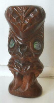 Vintage Maori Tiki Hand Carved Ancestral Mask Kauri Wood New Zealand By Tobe