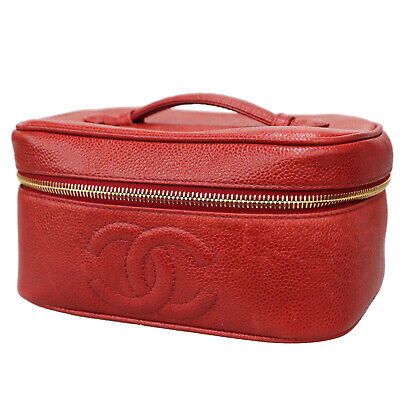 713305ab9e4287 CHANEL CC Vanity Cosmetic Bag Caviar Skin Red Leather Vintage Authentic  #Z606 Z