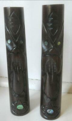 Vintage Carved Wood New Zealand Maori Tiki Salt & Pepper Shakers Paua Shell Eyes