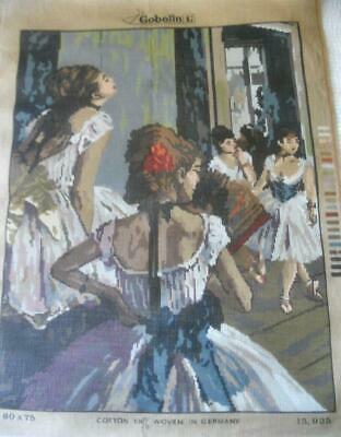 Unused Large Vintage Gobelin Printed Tapestry Canvas Dancers Design 51 X 66 Cm
