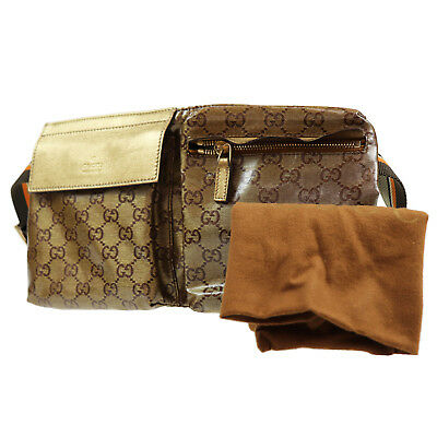47e60eb781086e GUCCI Coating Canvas Fanny Pack Waist Pouch Bag Gold Italy Vintage Auth  #Q161 Z
