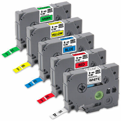 "5PK Compatible Brother p-touch printer TZe221-TZe721 9mm 3/8"" Label Tape PT-D200"