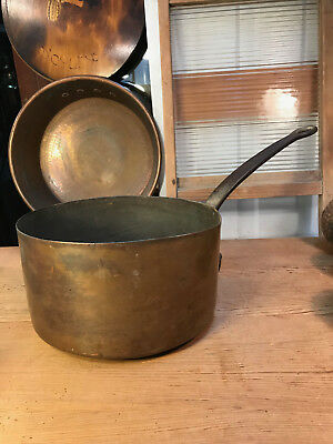 Antique French Country Kitchen Brass Saucepan Cast Iron Handle 19th Century