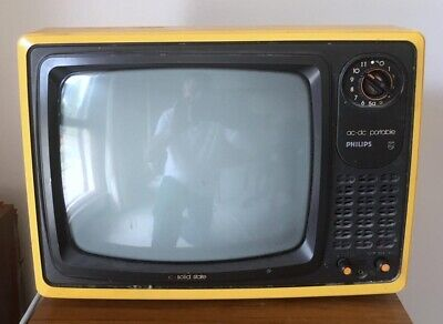 Vintage  Phillips Black And White 12 Inch Portable Tv