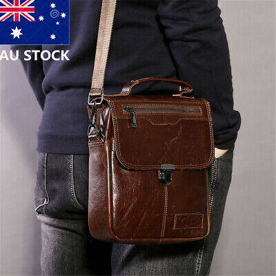 Men's Genuine Leather Business Handbag Shoulder Crossbody Messenger Travel Bag