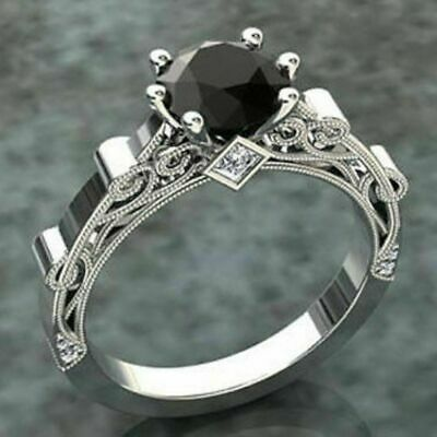 3.50ct Round-Cut Black Diamond Solitaire Engagement Ring 14K White Gold Finish