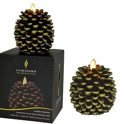 Luminara Pine Cone Candles Unscented Battery Operated Flameless with Timer 2PCS