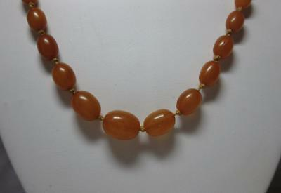 Antique Butterscotch Amber Chinese Egg Yolk Bead Necklace Baltic 14 Grams Deco