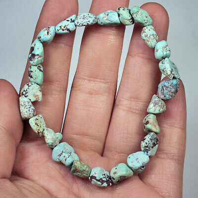 44.7Ct 100% Natural Intact Bisbee Turquoise Untreated Bead Bracelet MCTS270