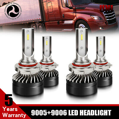 4x For Freightliner Columbia 05-12 Combo 9005 9006 LED High//Low Headlight Bulbs